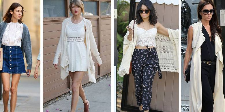 Celebrities wear long cardigans in spring/summer: Alexa Chung, Taylor Swift, Selena Gomez, Victoria Beckham