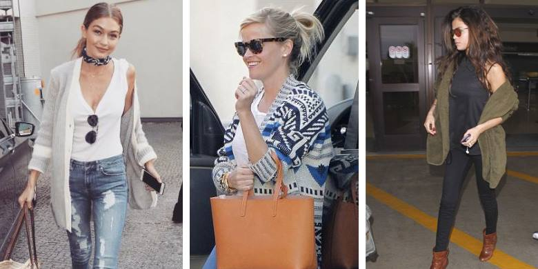 Celebrities wear long cardigans casually: Gigi Hadid, Reese Witherspoon