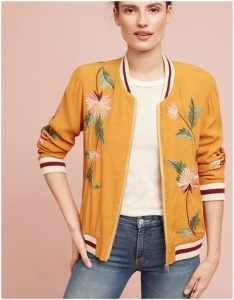 Mustard yellow bomber jacket with embroidered flowers