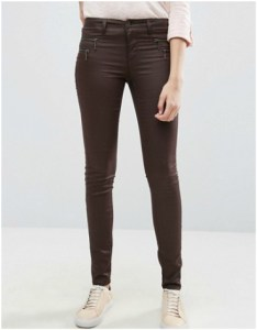 Asos - Only Olivia Coated Waxed Jeans in Chocolate