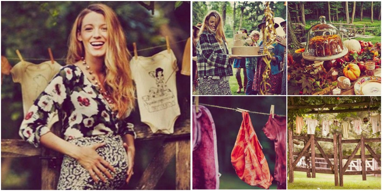 Pregnant Blake Lively in patterned body con dress with three quarter length sleeves. Rustic baby shower setting with cake and children's clothes on washing line.