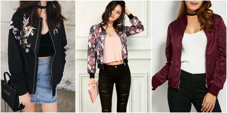 Black bomber jacket with denim skirt, floral bomber jacket with jeans, maroon bomber jacket with black jeans