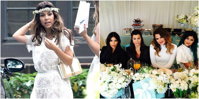 Kourtney Kardashian in white lace dress with flower crown; Kim Kardashian, Courtney Kardashian, Khloe Kardashian and Kylie Jenner in black and white outfits