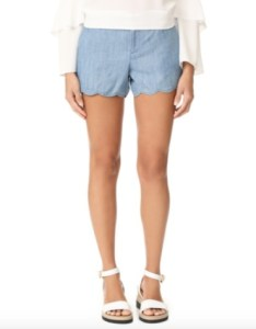 Low rise blue shorts with scallop hem