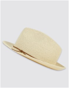 Marks and Spencer trilby summer hat with brown rope detail