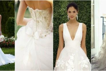 Four brides in wedding dresses