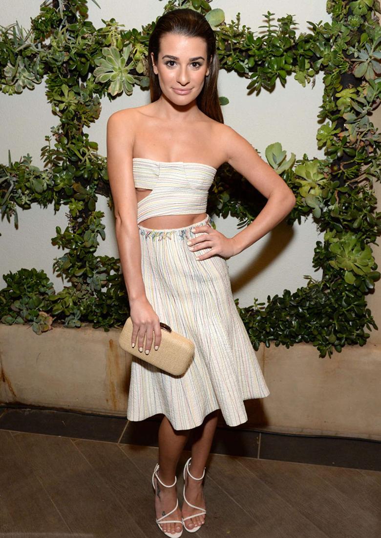 lea michele wearing pastel striped cut out dress