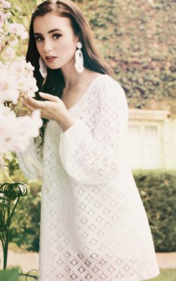Lilly Collins boho style white lace dress with sleeves