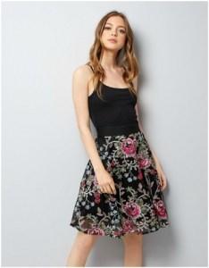 New Look Black Floral Embroidered Mesh Skater Skirt