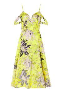 Floral Jacquard Prom Midi Dress - £40