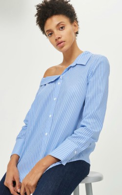 12 Pieces for a Hepburn-inspired Wardrobe - Mango TALL Stripe Off Shoulder Shirt - $55.00