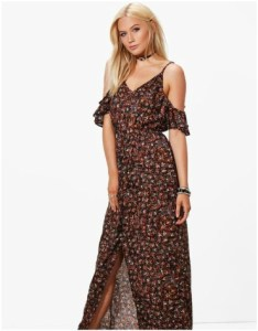 Boohoo Anna Cold Shoulder Frill Sleeve Maxi Dress