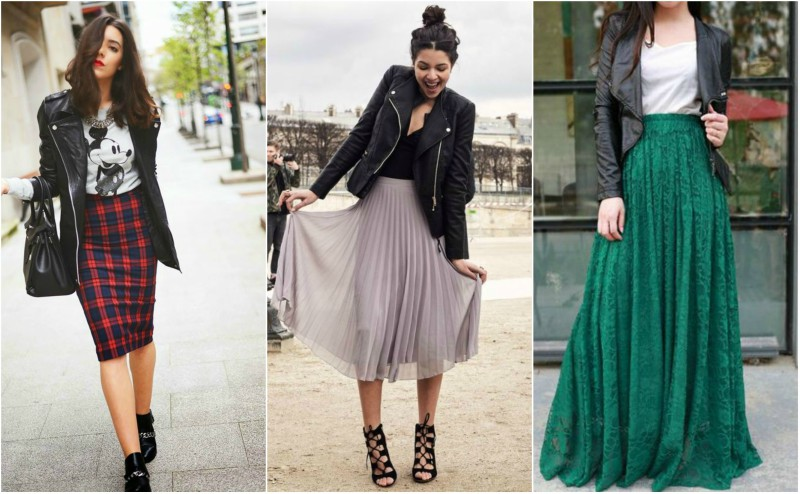 how to wear a leather jacket with a midi and maxi skirt