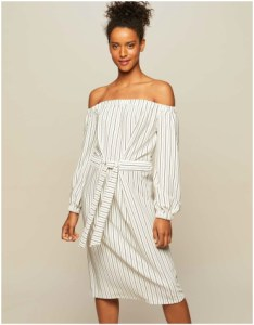 Miss Selfridge Striped Self Tie Bardot Dress