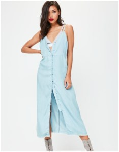 Missguided blue denim midi dress with button detail