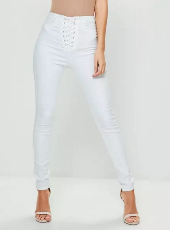 White Jeans Alexie High Lace £30 Missguided Vice Waisted Skinny Up zMSpqUV