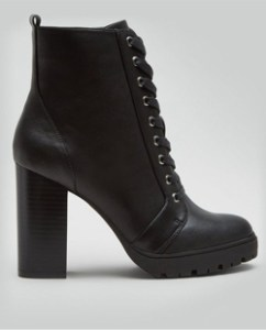 New Look Black Block Heel Lace Up Biker Boots
