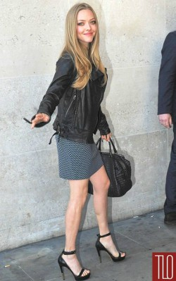 Amanda Seyfried style check skirt with heels and leather jacket - shop the look