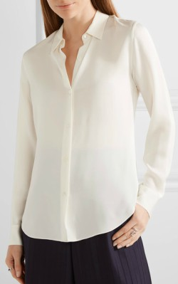 Net-a-Porter Theory Tenia silk crepe de chine shirt - white silk shirt