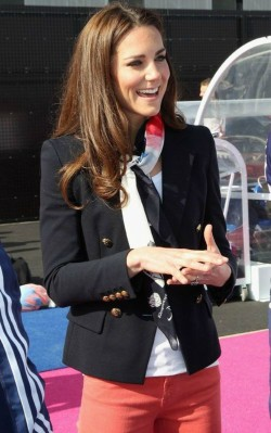 Kate Middleton fashion style, blue blazer with colourful silk scarf and pink pants - shop the look