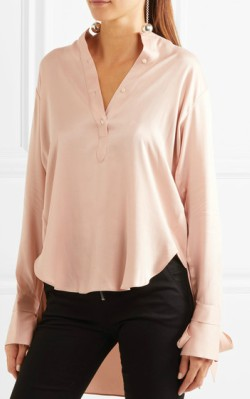 Net-a-Porter rag & bone Dylan cutout draped silk crepe de chine blouse - light pink silk blouse