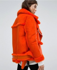ASOS Story Of Lola Oversized Aviator Coat With Faux Shearling Lining