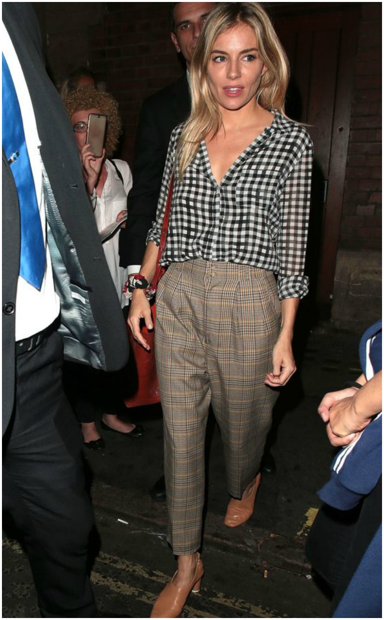 Sienna Miller AW17 trend check tailored trousers