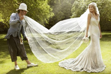 Kate moss wedding dress with veil flowing in the wind
