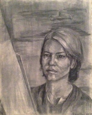 Charcoal drawing of the artist in 3/4 view, looking at an easel.