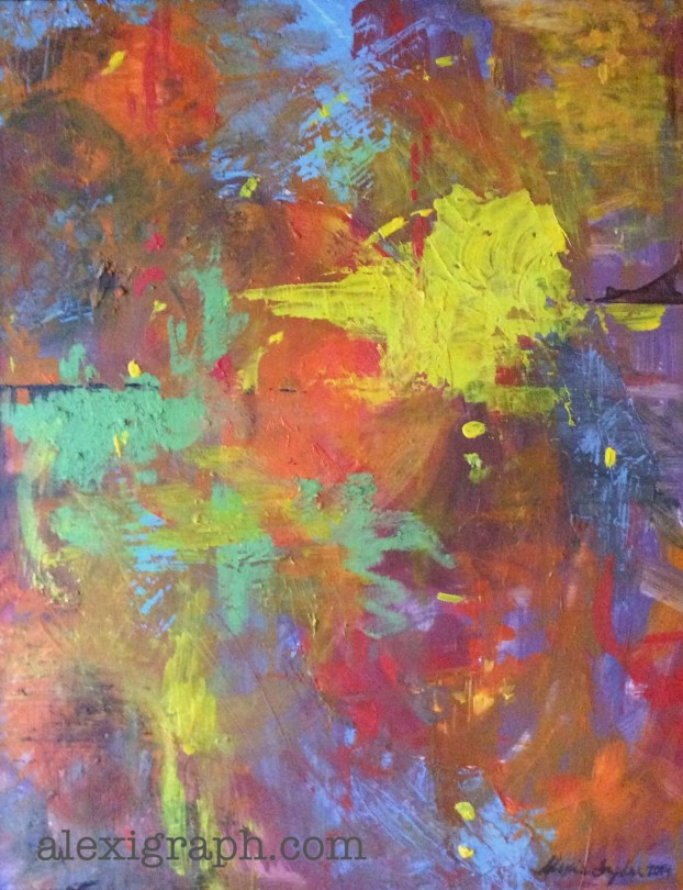 A brightly colors abstract painting