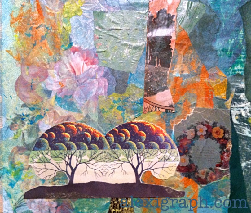 Collage with image of two trees