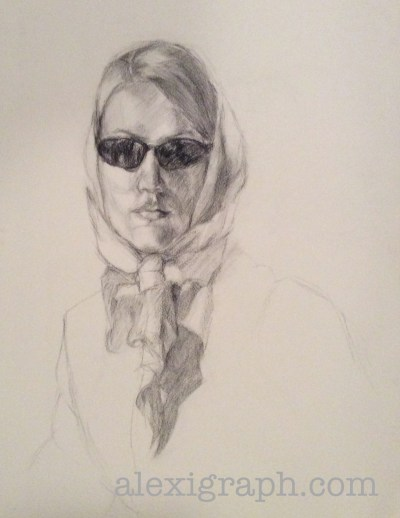 Drawing of a woman in sunglasses and a head scarf