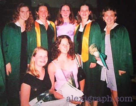 Snapshot of a group of girls smiling for the camera in their graduation gowns