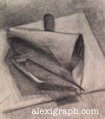 Charcoal drawing of a rolled-up piece of paper unfurling.