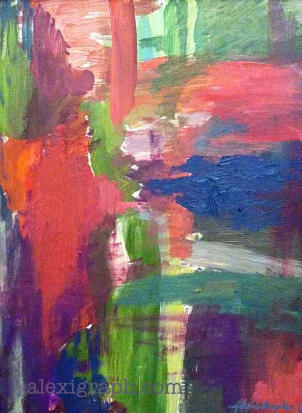 A vibrantly colored abstract painting