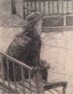 Drawing of a woman sitting on a bench