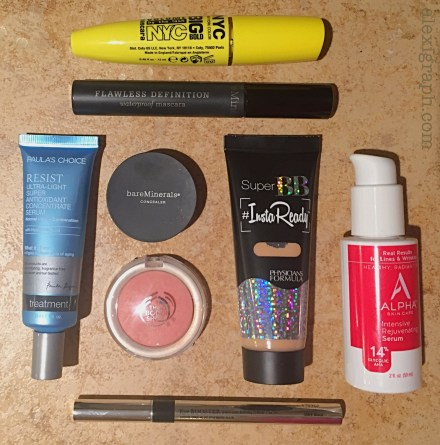 Various cosmetic products arranged on a countertop