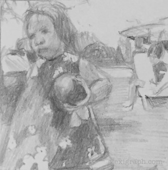 Pencil drawing of a young girl holding a ball