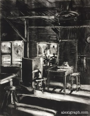 Black and white monotype of interior with stools and plants