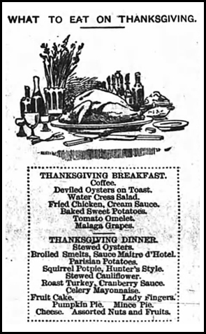 "1888. The Sun and the Erie County Independent Newspaper, Hamburg, New York ""What to Eat on Thanksgiving"""