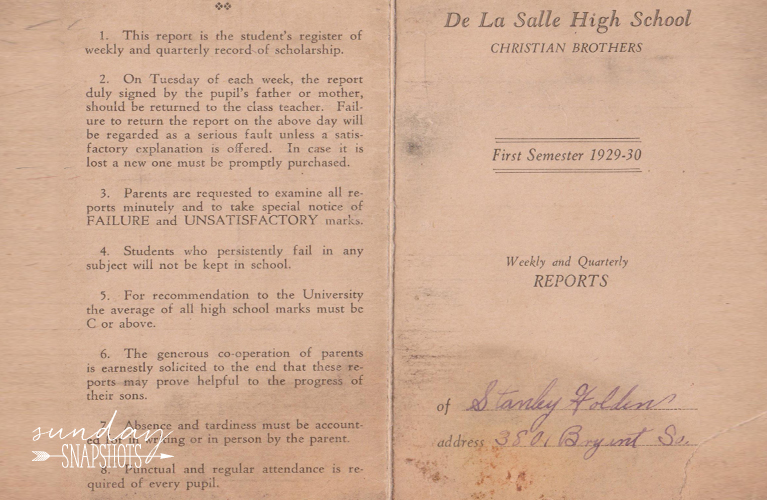 1929-1930 De La Salle High School Christian Brothers Weekly and Quarterly Reports for Stanley Golden | Alex Inspired