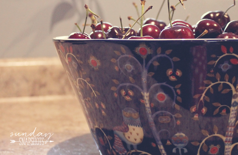 Fresh bowl of Cherries in Iittala Blue Taika Bowl | Alex Inspired