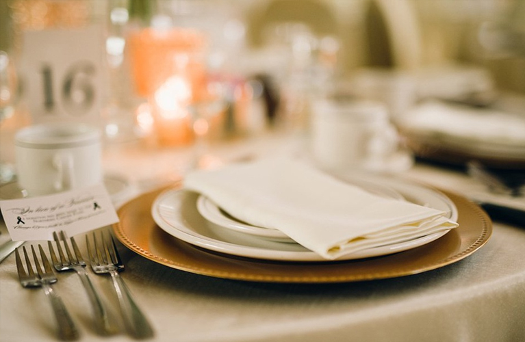 Tricia & JJ Custom wedding designs for tables, menus and donation card. | Maria Maria Photography