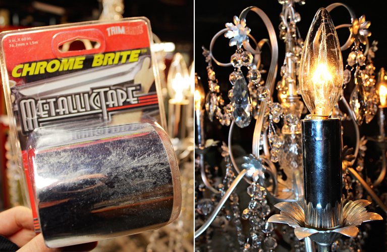 Refurbished Chandelier | Alex Inspired – Old brass chandelier is given new life with metallic tape