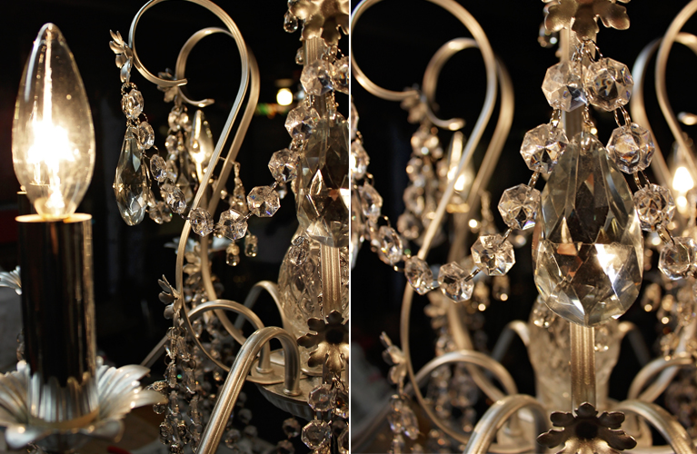 Refurbished Chandelier | Alex Inspired – Old brass chandelier is given new life with crystal - purchased during the Christmas season - easy garland turned into wonderful accessory