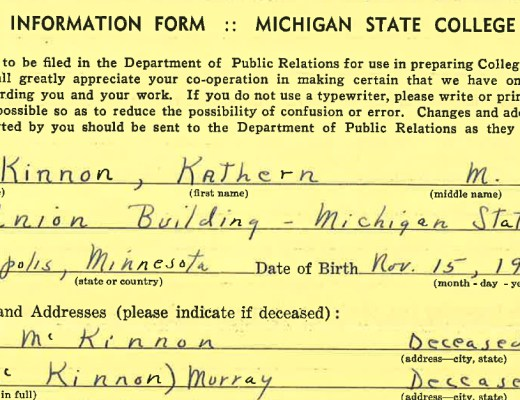 Kathern McKinnon's Michigan State College Employee Record | Alex Inspired