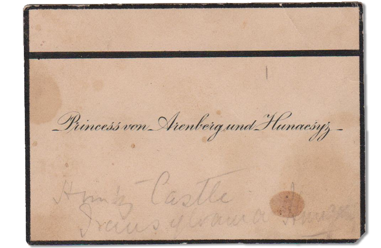 Business card of Princess Von Arenberg