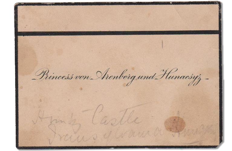 Business card of Princess Von Arenberg
