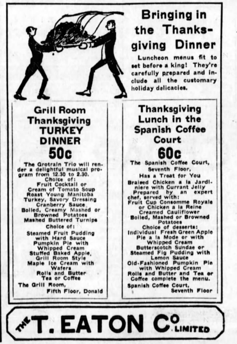 Ever wonder what it would have been like to have Thanksgiving Dinner at the Eaton's Grill Room?   Alex Inspired