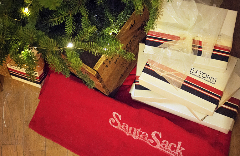 Have Yourself a Canadian Little Christmas - Blog Hop. Balsam Tree in a vintage Hudson's Bay Crate, Eaton's Boxes and Santa Sack | Alex Inspired